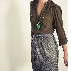 Anthropologie Tabitha Avant Metallic Tweed Skirt